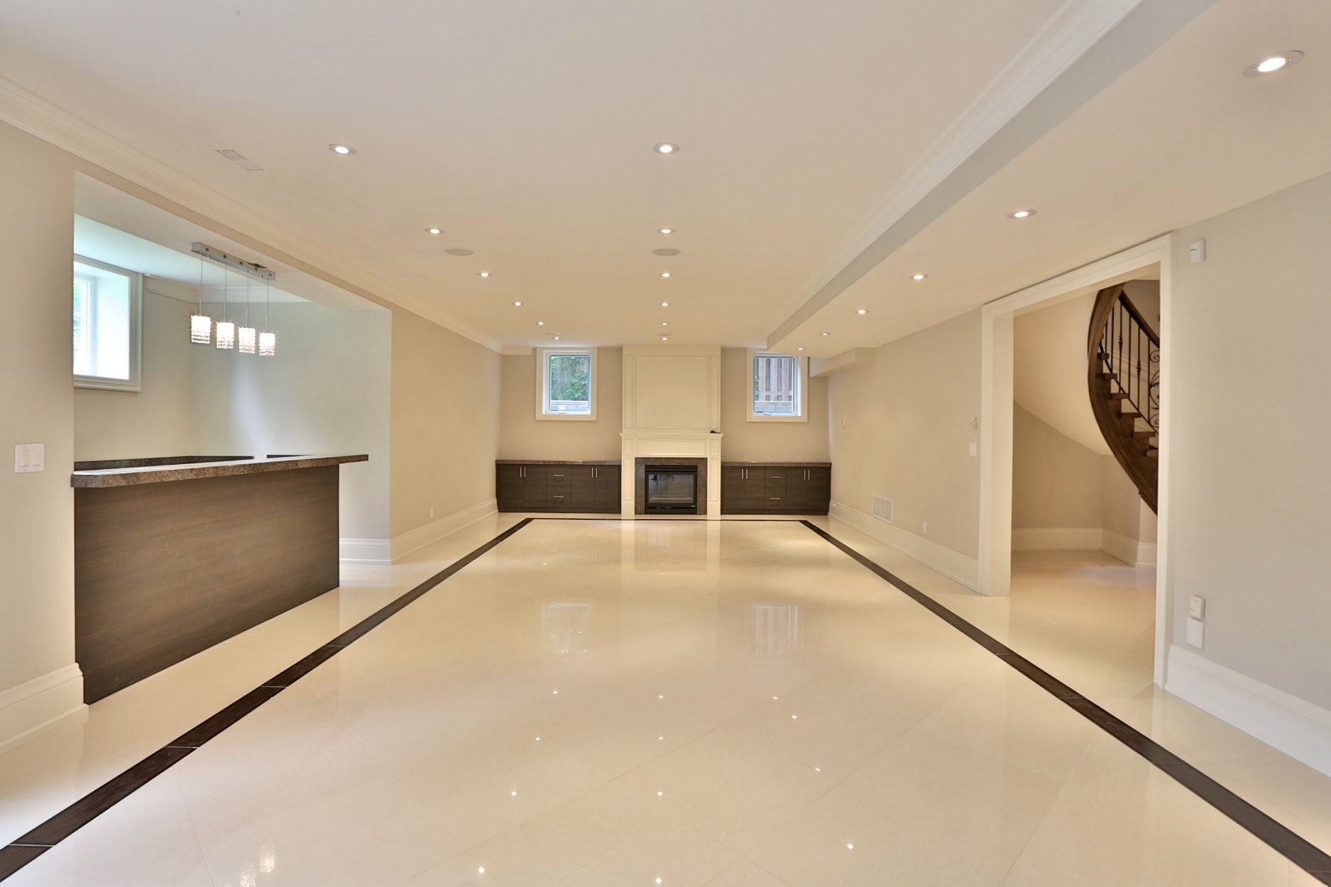 Basement renovations professional remodel finishing for Stone floor renovation